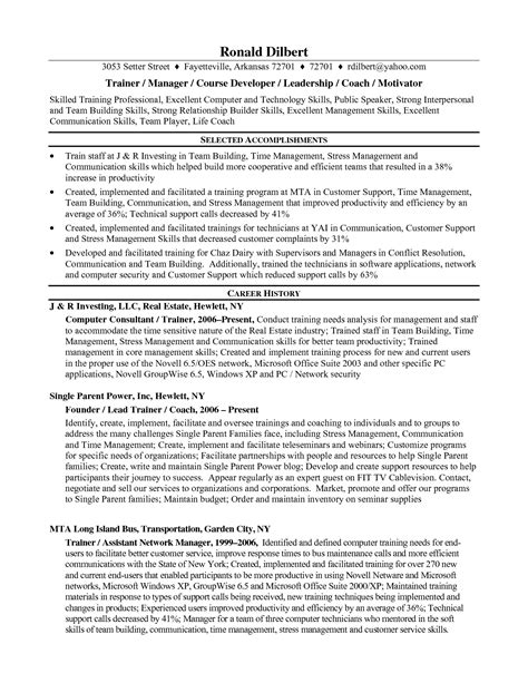 resume format for technical trainers 12 sle corporate trainer resume recentresumes