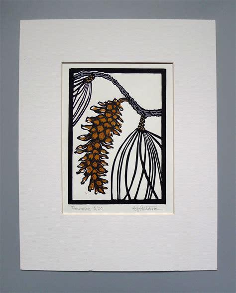 Handmade Prints - pine cone block print 11x14 handmade linocut