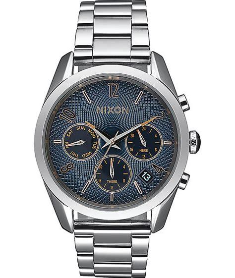Silver Watches nixon bullet chronograph 36 navy gold silver