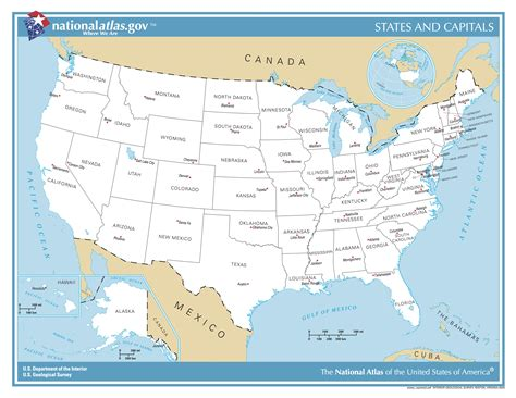 map of the united states with capitals and state names map of united states with cities and capitals