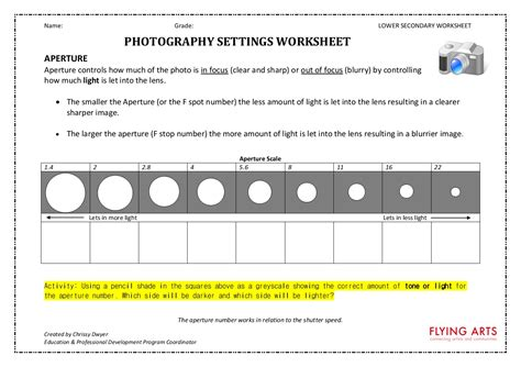 Photography Worksheets by Arty Crafty Studio Worksheets