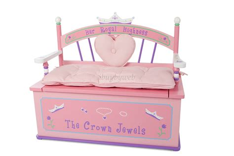 pink toy box bench levels of discovery her royal highness girls pink toy box