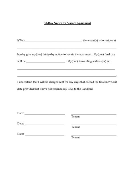 Lease Agreement Notice To Vacate Template letters landlord lease termination letter fill in blank 30 day notice to tenant vacate