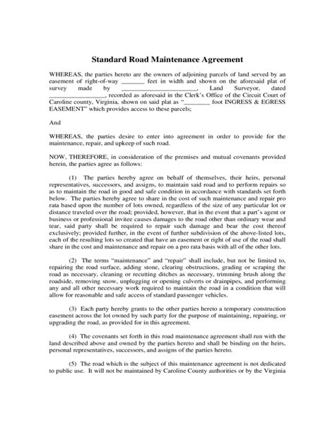 easement agreement template road maintenance agreement sle form free
