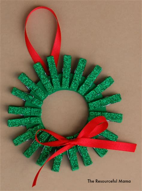 mini clothespin christmas wreath ornament