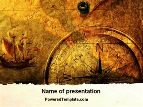 ancient map with compass powerpoint template by