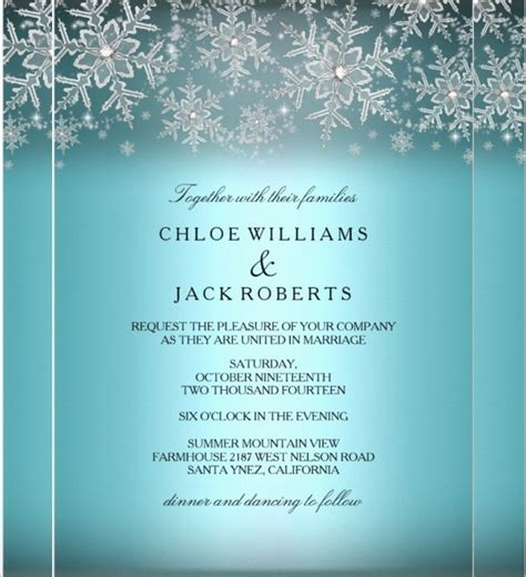 Winter Wedding Invitation Templates Free Winter Wonderland Wedding Invitations Template Resume Builder