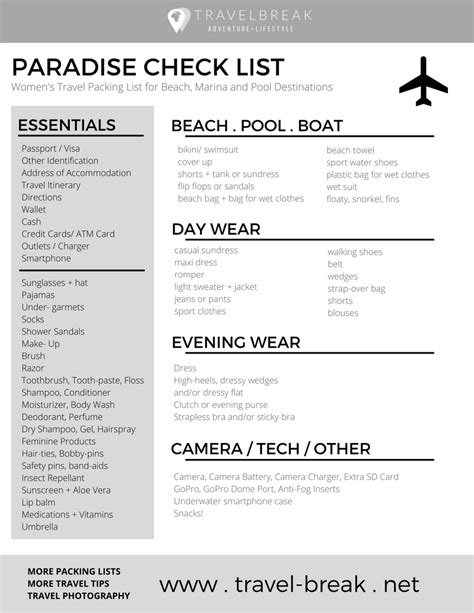 printable travel checklist packing list pdf women s beach packing list planning guide travelbreak