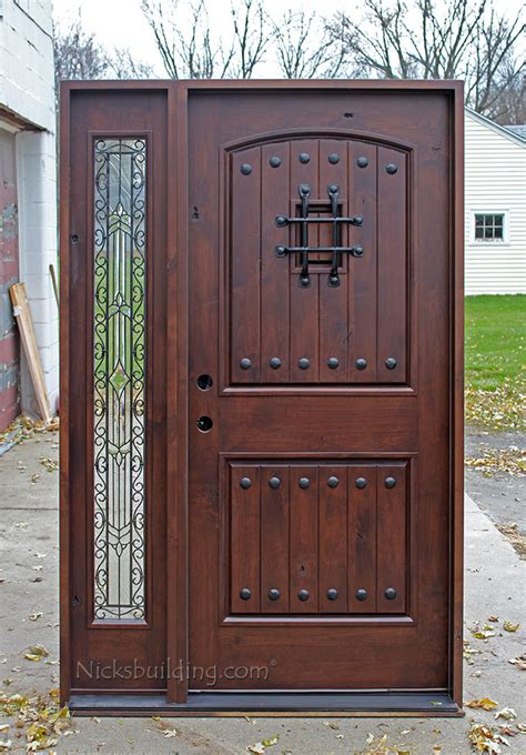 knotty alder exterior doors with one sidelite
