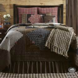 blue brown plaid rustic lodge log cabin country home