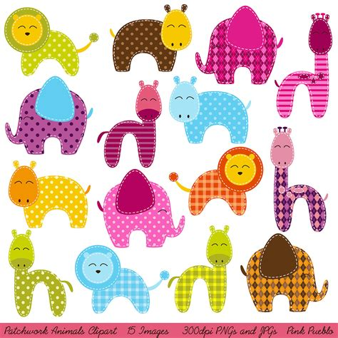 Patchwork Animals - patchwork animals clipart clip zoo animals jungle animals