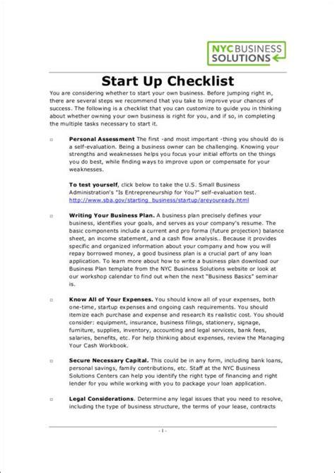 business startup checklist free printable sles still