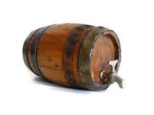 Antique Blue Vanity Wooden Keg With Tap Vintage Mini Wood Barrel Metal Hoops