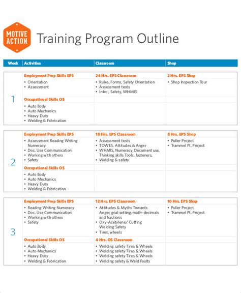 workshop program template 8 outline templates free sle exle format