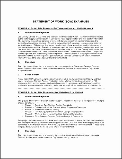 government statement of work template 9 statement of work sle sletemplatess