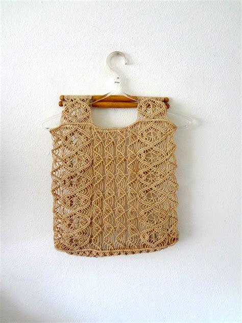 How To Macrame A Purse - 1970s macrame purse bohemian handbag vintage tote