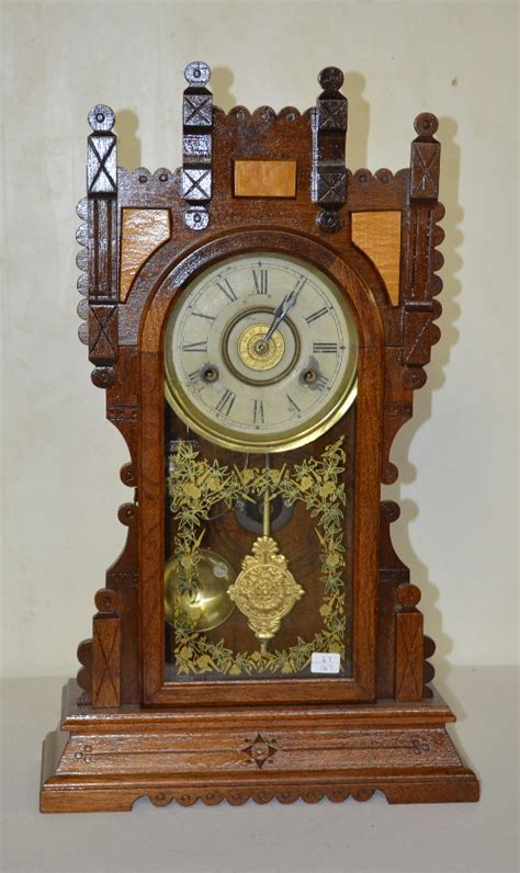 antique gilbert oak kitchen clock t s with a signed paper d