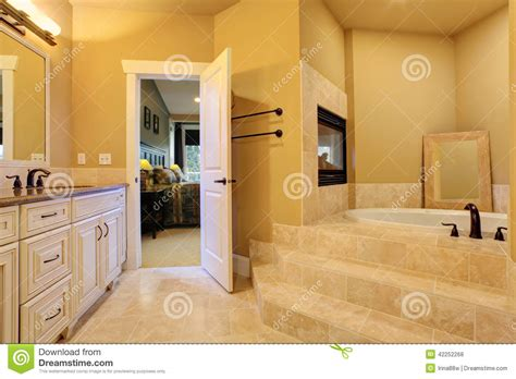 bathroom construction steps bathroom with bath tub and fireplace stock photo image