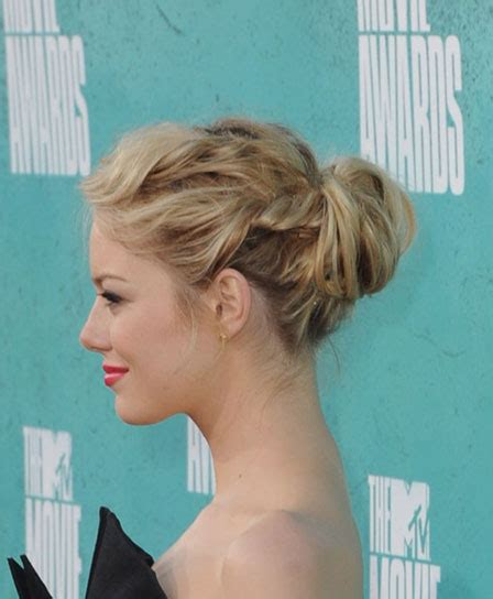emma stone updo hairstyles emma stone blonde hair with bangs updo short