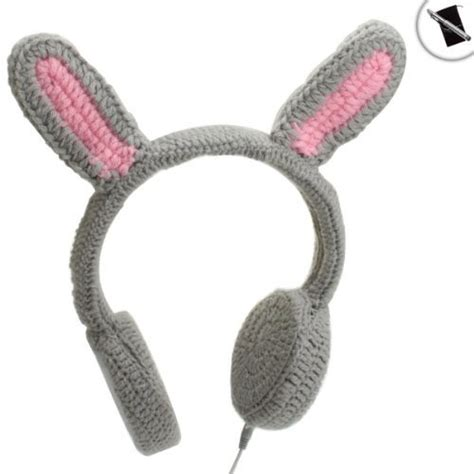 Rabbit Earphone With bunnyphones crocheted rabbit ear stereo headphones with
