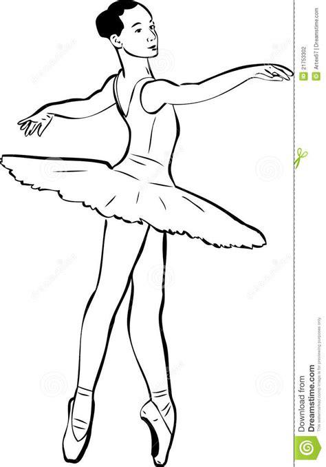 schets van de ballerina van het meisje in tutu en pointe
