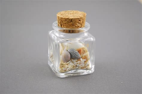 Mini Glass Bottle Square with Cork 1.4oz (Pack of 24)