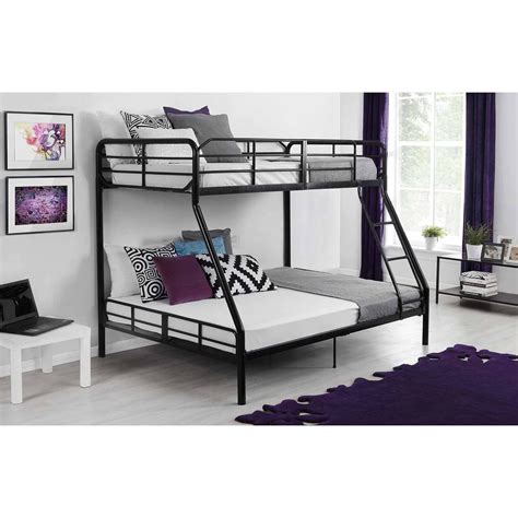 bunk bed full and twin twin over full metal bunk bed w ladder kids bedroom