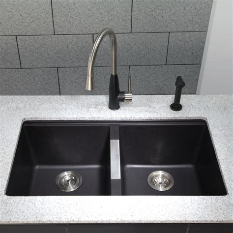 black granite undermount kitchen sinks kraus kgu434b 33 inch undermount 50 50 double bowl granite