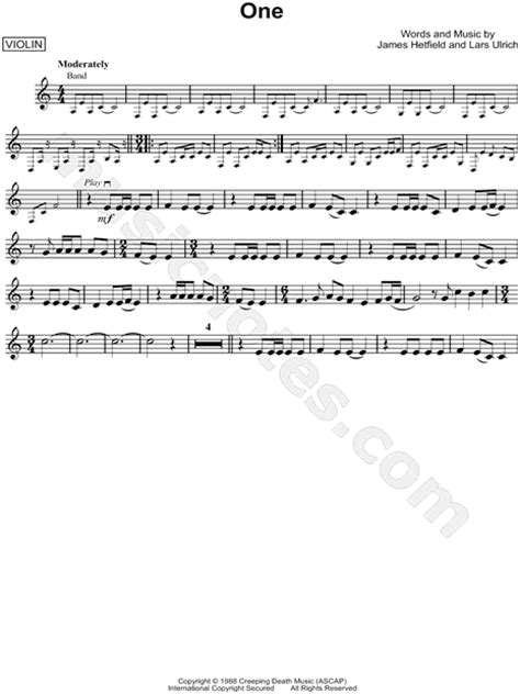 metallica one piano sheet music metallica quot one quot sheet music violin solo in a minor