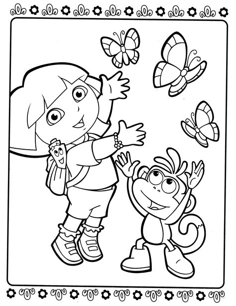 dora the explorer coloring pages bestofcoloring com