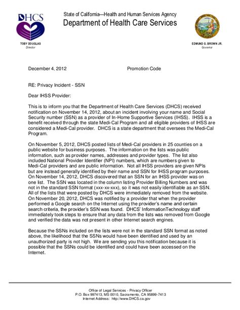Letter To California State by Impacted Dhcs Notification Letter For Print 120412 4
