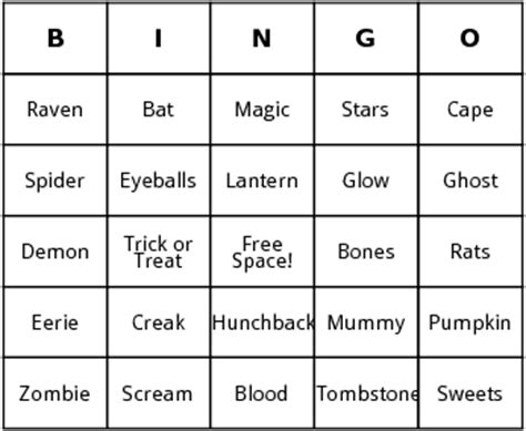 ghost bingo card template bingo sheet festival collections