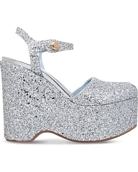 chiara ferragni mj glitter embellished wedge sandals in