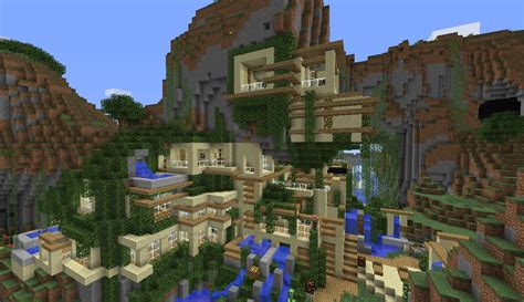 mountain house modern house cliff mountain minecraft project