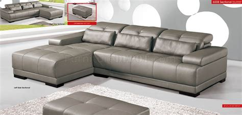 Genuine Leather Sectional Sofas grey genuine leather sectional sofa w adjustable headrests