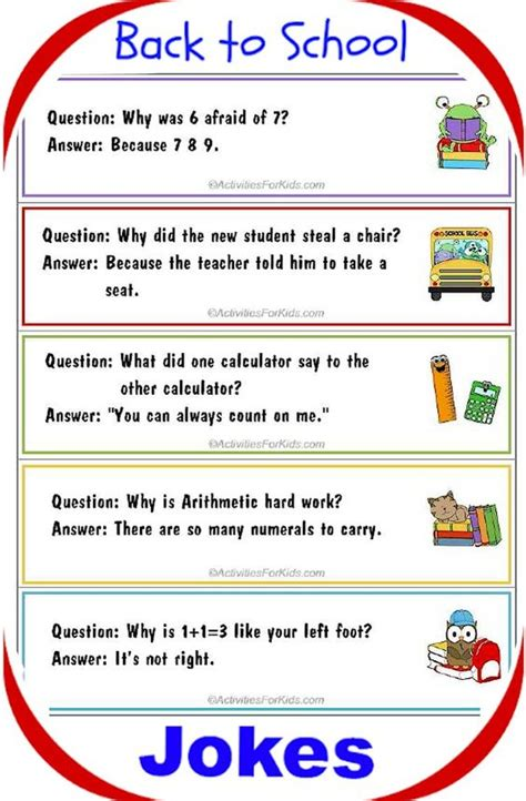 printable funny jokes printable back to school jokes for kids bookmark format