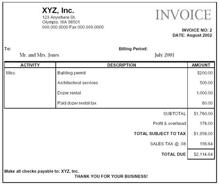 construction company invoice exles paying retail sales tax macc construction