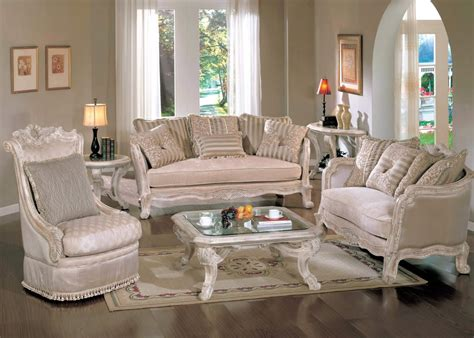 Antique White Living Room Furniture Michael Amini Lavelle Blanc Traditional Luxury Living Room Wood Trim Tufted Sofa Set By Aico