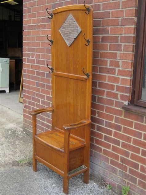 antique entryway bench coat rack art deco antique english golden oak mirror hall stand coat