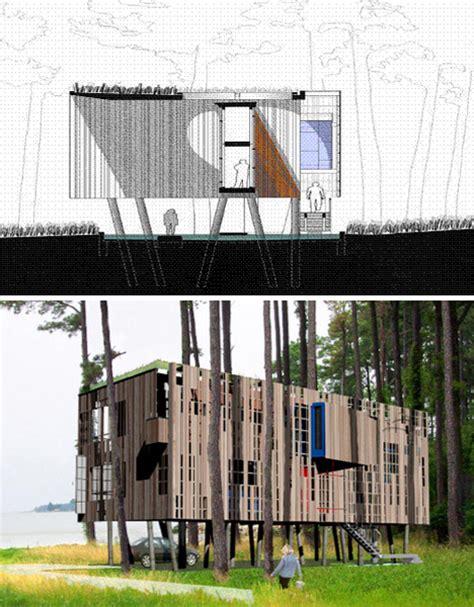 modular beach house plans fluid kit of parts flood proof prefab beach house on stilts
