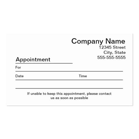appointment reminder template free appointment card templates free search results
