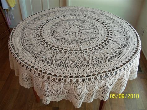 Handmade Crochet Tablecloth - handmade crocheted pineapple tablecloth 70 inch