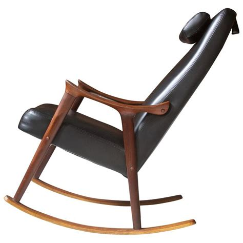 Rocking Lounge Chair Design Ideas Ingmar Relling For Westnofa Sculpted Teak And Black Vinyl Rocking Chair At 1stdibs