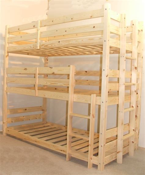 Bunk Bed With 3 Beds Pandora 3ft Single 3 Tier Heavy Duty Solid Pine High Sleeper Bunk Bed