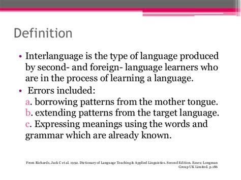 pattern of language meaning interlanguage hypothesis