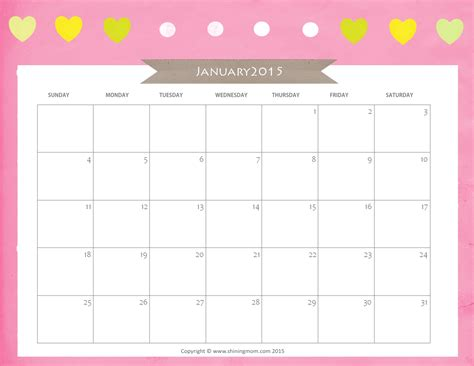 january 2015 calendar template free 2015 calendar printable large quotes