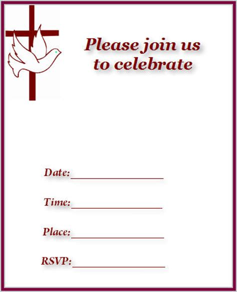 Printable Church Invitation Cards | dove baptism template new calendar template site