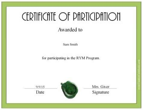 certificate of participation template word letters of personal