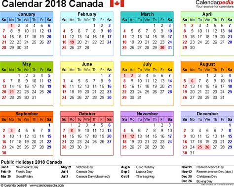 printable calendar canada 2018 canada calendar 2018 free printable excel templates