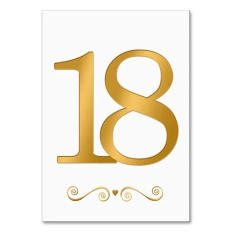 elegant bright gold faux metallic number 18 card